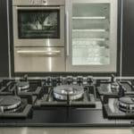 An unlit gas cooktop